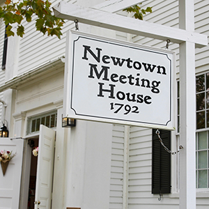 The front of the Newtown Meetinguouse